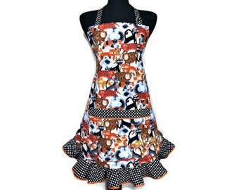 Cartoon Cat Apron for Women with Retro Style Polka Dot Ruffle, Adjustable with Pocket, Pet Lover Kitchen Decor, Kittens, Kitty Kitchen