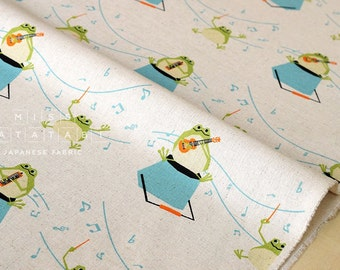 Japanese Fabric Music Frogs - natural - 50cm