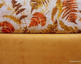 2 Piece Fat Quarter Fabric Bundle, Cotton Fabric, Fall Fern Leaves, Medium Tone Golden Yellow, Sewing-Quilting-Craft Supplies