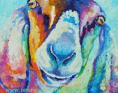 Original Nubian Goat Oil Painting 10x10 painted by knife in bright colors