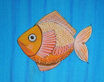 Goldfish Nursery Art FISH Nursery art painting ocean woodland forest theme pet painting