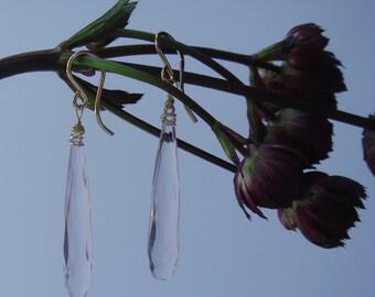 Morganite Quartz, Pale Pink, Flapper style Dangle Earrings, Miss Fisher, Gold