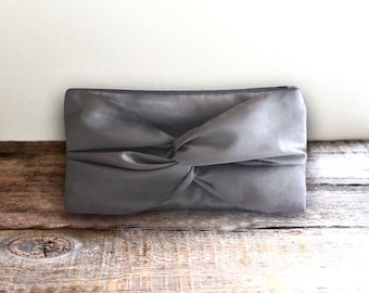 Knotted Gray Clutch For Bridesmaid Gift with Personalized add on Option- Pewter Gray Bridal Clutch-