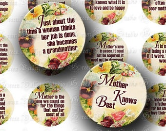 INSTANT DOWNLOAD Digital Collage Sheet Motherhood Mother's Day Quotes Sayings 1.5 Inch Circles for Pendants Tags Crafts (CPS32)