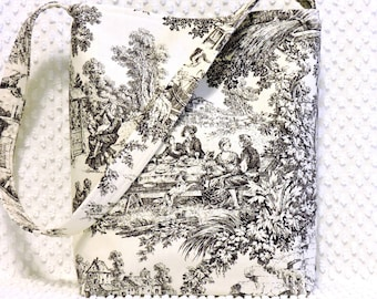 Black and White French Countryside Toile Hobo Bag, Everyday Purse