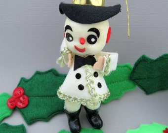 Vintage Flocked Snowman Ornament - Kitschy Snowman Christmas Tree Ornament -  Made In Japan - 1960's