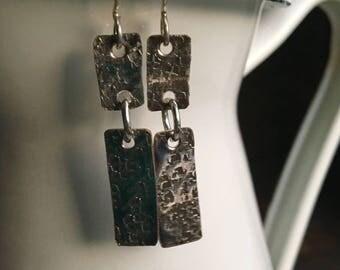 Hammered Earrings, Textured Earrings, Long Earrings, Dangle Earrings, Silver Filled Earrings, Rectangular Earrings, Etsy, Etsy Jewelry