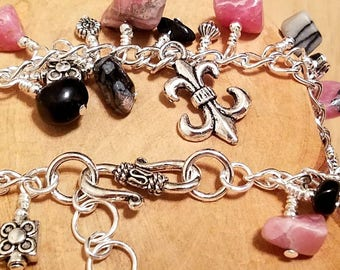 Parisienne pink black and grey chunky cha cha chain bracelet ... and it's adjustable too!