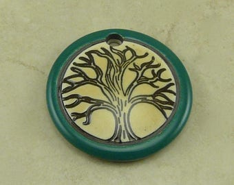 """Teal Rain Tree Disk Pendant - Tree of Life Motif with Ivory and Mocha Brown - Clay River Designs 1 1/4"""" Diameter I ship Internationally"""