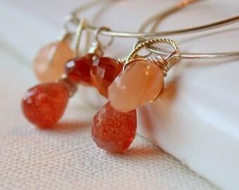 Lightweight Hammered Hoop Earrings. Gemstone Hoop Earrings. Sunstone Hoop Earrings. Large Round Hoop Earrings.