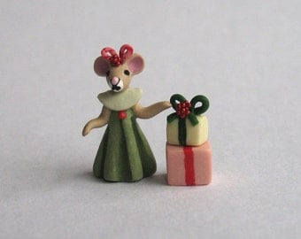 Handmade Miniature Sweet Miss Mouse with Gift Stack by C. Rohal