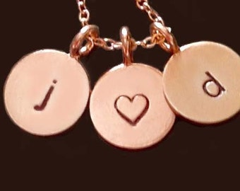 Hand Stamped 14kt Rose Gold Initial Charms by donnaodesigns