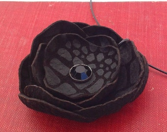 Black Leather Poppy Flower Wire Necklace Eco Friendly Handmade in Seattle by Greenbelts OOAK