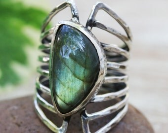 Oblong olive/gray labradorite ring in silver bezel setting with sterling silver skeleton multi wrap band