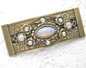 Pink Opal Sunshine Bejeweled Barrette Victorian Style Barrette Antiqued Brass Barrette Hair Accessory