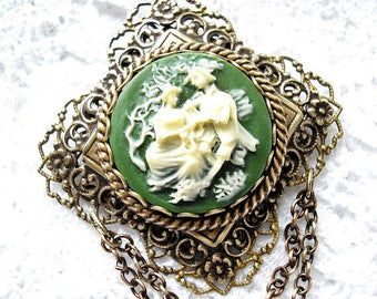 Ivory and Green Colonial Scene Cameo Brooch Pendant with Brass Chain