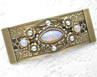 Pink Opal Sunshine Bejeweled Barrette Victorian Style Barrette Antiqued Brass Barrette Hair Accessory