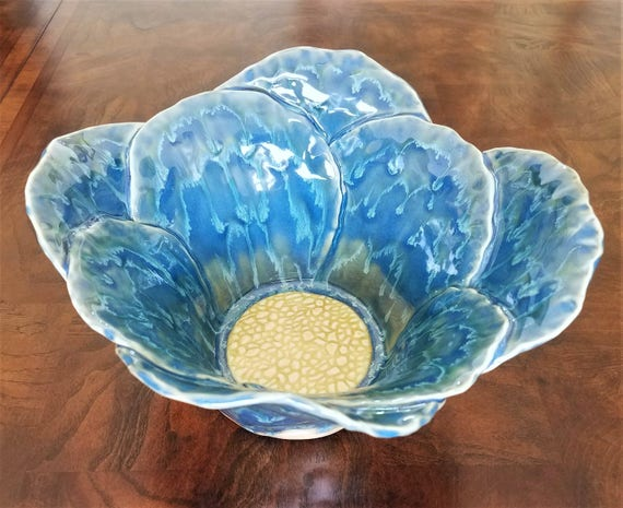 Handmade Pottery - Large Pottery Bowl - Large Stoneware Bowl - Decorative Bowl - Home Decor - Centerpiece Bowl - Flower Bowl - Blue - Green