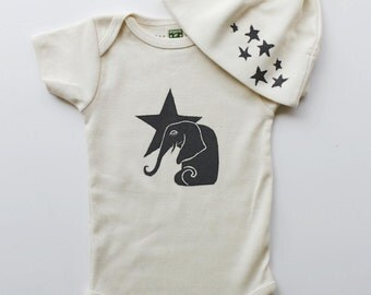 Elephant and Star Organic Cotton Onesie and Star Hat Set- Made in Seattle