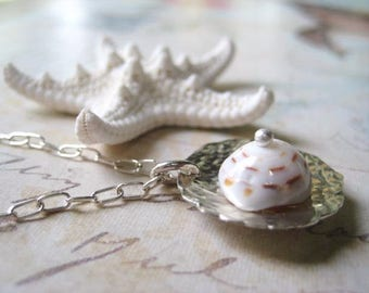 Sea Shell Necklace, Tiger Puka Shell, Sterling Silver, Nautical Jewelry, Coastal Finds, Hawiian Shells, Beach Jewelry, candies64
