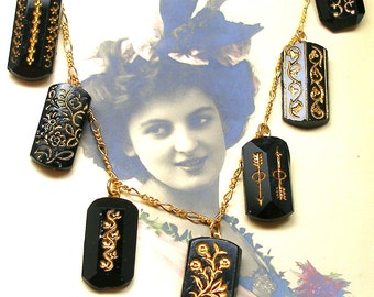 1800's Antique BUTTON necklace, Victorian black on gold chain, one of a kind jewellery.