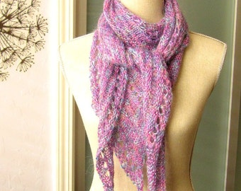 Handknit Skinny Triangle Shawl Style Scarf Neckwrap  - Lavender Pink Mohair