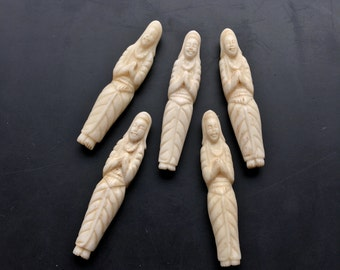 Carved bone planking female deities goddess Asian pendant jewelry supplies handmade textile bead embroidery design Lori Lochner
