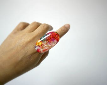 chunky resin statement ring . size 9