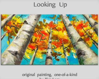 """Art, painting, tree painting, Looking up forest, landscape painting, wall decor canvas, oil painting, abstract painting, by Tim Lam, 48"""""""