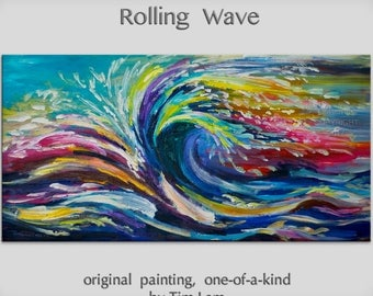 Landscape painting Rolling wave sea art Original large Turquoise seascape abstract painting acrylic painting by Tim Lam 48x24