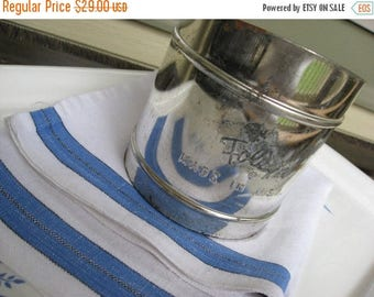 BIG SALE - Vintage Foley Flour Sifter and Blue Nubby Linen Kitchen Towel