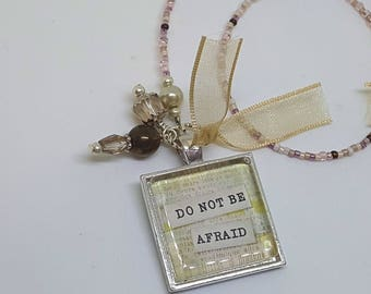 Do Not Be Afraid Word Quote Book Thong Beaded Bookmark Inspiring Inspiration
