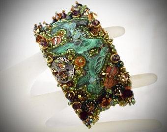 Boho Jewelry - Rustic cuff bracelet - Beaded cuff - rustic wrap bracelet - boho brass cuff - boho bracelet boho festival outfit soft grunge