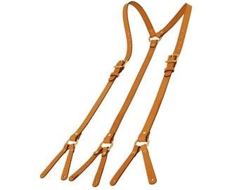 Tan Leather Suspenders