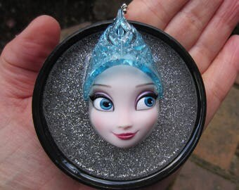 Queen Blue Ice -  Upcycled Doll Pendant