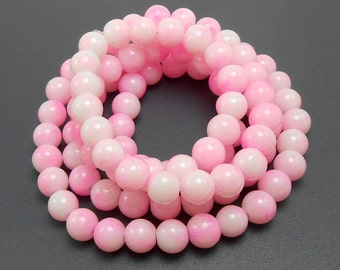 50 Shades of Pink and White Glass Beads 8mm (H2245)