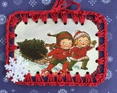 Crochet Card / Book Mark / Ornament / Tag - Christmas Tree - Campbells Soup Kids