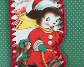 Crochet Card - Recycled Vintage Christmas Greeting - Whee It's Christmas Dog and Squirrel