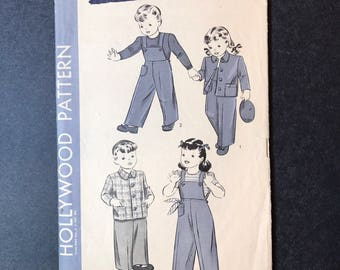 1940's Pattern for Boys and Girls Overalls and Jacket - Hollywood 1238 Children's Pattern - size 6 years