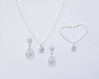 Silver Bridal Earrings Wedding Earrings  Crystal Teardrop Earrings Pendant Bracelet Necklace Crystal Embellished Earrings