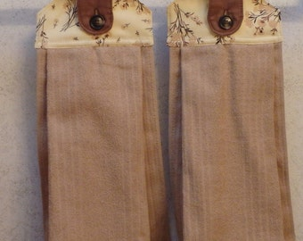 SET OF 2 - Hanging Cloth Top Kitchen Hand Towels - Yellow Floral Print, Larger Tan Towels