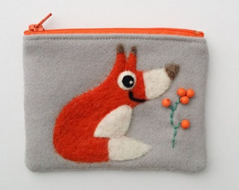 Zippered coin purse pouch purse light gray wool fabric with a needle felted fox berries