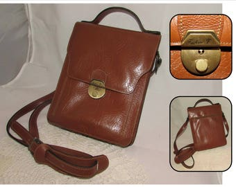 Vintage Brown Leather Crossbody Messenger Bag Purse with Top Handle by Frederic T, France