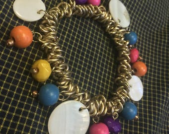Funky Vintage Woven Metal Stretch with Shell and Wooden Charms Bracelet