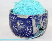 Blue Flowers Yarn Bowl