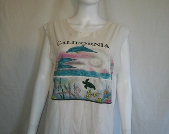 California tank top tourist souvenir  t shirt  dolphin turtle fish