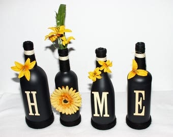 Black Decorated Wine Bottles HOME Design Yellow Trim Floral Painted Handmade