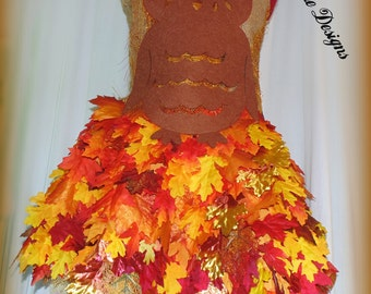 OWL dress -Autumn leaves dress # 3 with Owl bodice