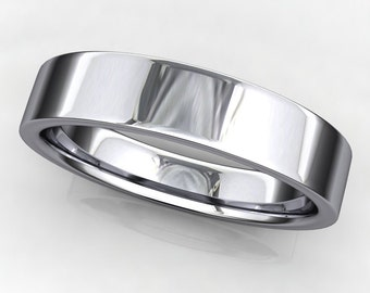 archer ring - men's 14k white gold wedding band, brushed satin finish