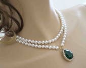 Ivory Swarovski Pearl and Crystal Necklace Bridal Necklace Emerald Pearl Wedding Jewelry Pearl Necklace Bridal Jewelry Green Gold Drop